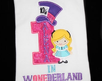 Birthday Mad Hatter Tea Party Cutie as Alice Inspired in Wonderland Birthday Personalized Embroidered Shirt or Bodysuit