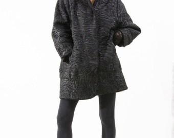 Black Karakul Persian Lamb Swakira Afghan Fur Coat with matching Hat Sz M