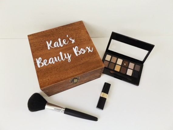 wood personalized beauty box
