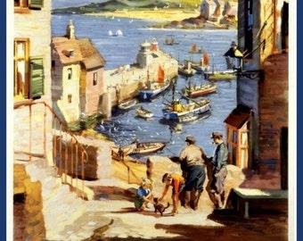 Art Print Cornwall, St Ives, England, Travel Poster Print 8 x 10