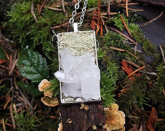 quartz crystal cluster & lichen necklace