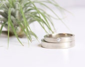 White Gold Wedding Ring Set // 14k Gold Ring set // Eco Friendly Recycled Gold // Matching Gold Wedding Bands // conflict free diamond ring