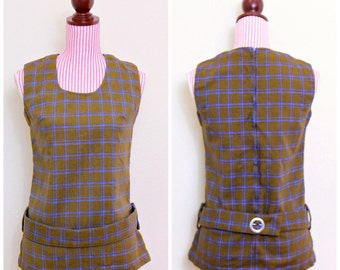 1960s VINTAGE Tunic / 60s Shirt / Geometric / MOD / Knit / Blue / Brown / CHIC
