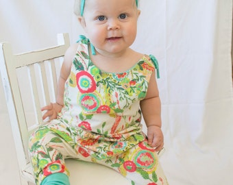 Floral Pant Romper with ties by Little Lapsi. New baby girl. spring summer outfit. ART GALLERY knit