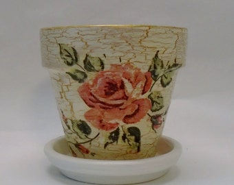 Handmade Decoupage Clay Flower Pot, Shabby Chic, Vintage Roses, 4.25""