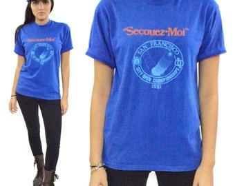 """Vintage 80s """"Secouez-Moi"""" San Francisco City Open Championships T Shirt Sz L"""