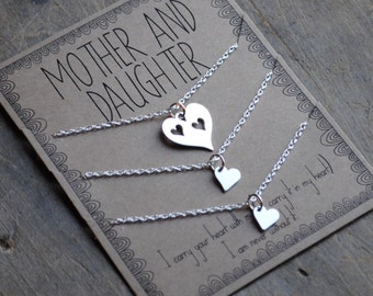 Mother Daughter Necklace SET OF THREE mothers day gift .  I carry your heart with me  .  mother of the bride  . bridal jewelry