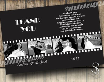 Photo Thank You Card in black and white filmstrip DIY