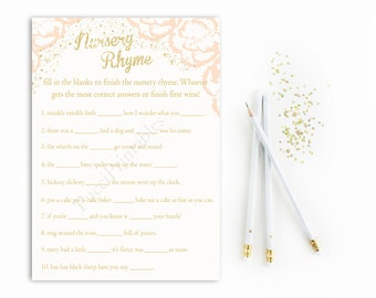 Pink Nursery Rhyme Baby Shower Game Printable, Nursery Rhyme Quiz Card, Pink and Gold Nursery Rhyme, Girl Baby Shower Game, PDF, DIY