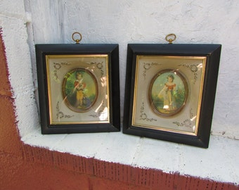 Set of 2 Vintage Framed Victorian Pictures.  Chums by Freeman and Master Simpson by Devais.  1950s. Shadowbox Frames