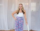 The Floral Maxi-Tank Dress -- Women's Maxi Dress -- Jersey Cotton Knit Dress -- Custom Made to Measure