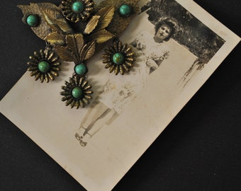 1930s Brass Floral Dangle Brooch