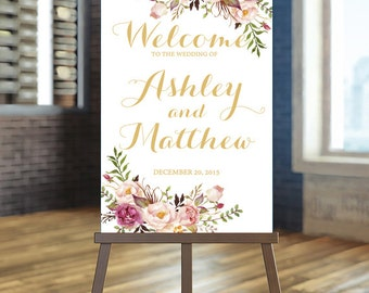 Printable Wedding Sign, Welcome Wedding Sign, Blush and gold Wedding Sign, Boho wedding Sign, Wedding Sign, Rustic Wedding Sign, Custom sign