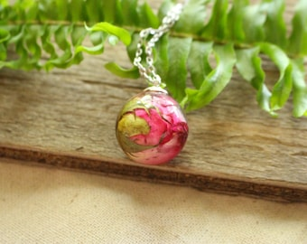 Pink Rose Sphere Pendant / Resin Jewelry / Nature Necklace