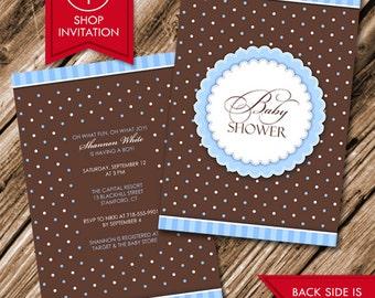 Polka Baby Boy Shower Invitation (Free Shipping)