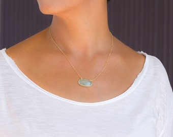 Gemstone Necklace Pink Faceted Chalcedony Pendant Labradorite Oval Amethyst Pendant sterling silver Gift for her Every day necklace