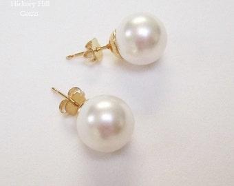 White Pearl Studs 10mm SWAROVSKI elements Pearls Large Pearl Earrings Round Pearl Stud Earrings, GOLD pl Bridal Bridesmaids Pierced Earrings
