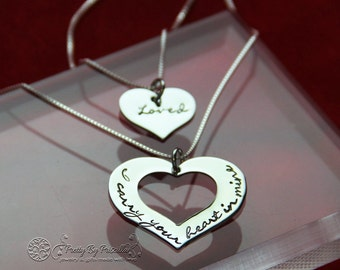 Christmas gIft idea - Personalized hand stamped jewelry-Mother Daughter Necklace Set - I Carry Your Heart In Mine/Loved