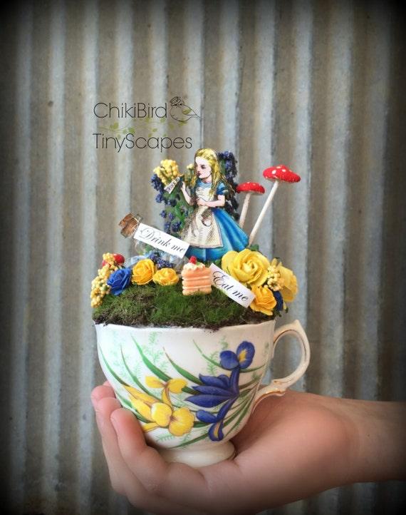 Alice in wonderland tea cup garden fairy village by chikibird for Alice in wonderland fairy garden