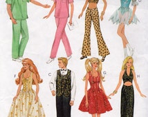 McCalls 9663,  Unisex Fashion Doll Clothes, For 11.5 and 12.5 Inch Dolls, Scrub Sets, Fancy Doll Gown and Suit , Halter Top, Skating outfit