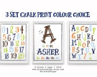 ABC's, Numbers and Name Print || kids prints, ABC's, child name print, boy print, nursery art, playroom poster, custom nursery print