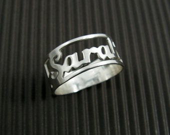 Name ring. Sterling silver ring. Personalized ring. Word ring. Personalized jewelry. Name silver ring. Personalized silver ring. Unisex ring