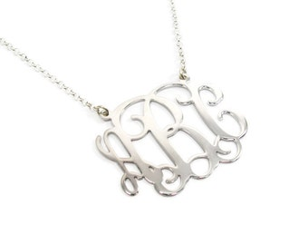 """Monogram Necklace 1.5"""" Personalized nacklace Sterling silver 925. birthday gift, monogram jewelry, name jewelry. initial necklace. monogram"""