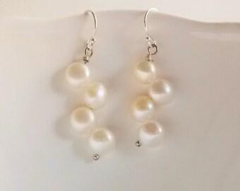 White Pearl Earrings Sterling Silver, Pearl Dangle Earrings. Small Pearl Drop Earrings, Real freshwater Pearl Drop Earrings