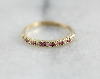 Ruby and Diamond Wedding or Stacking Band LM7YMH-D