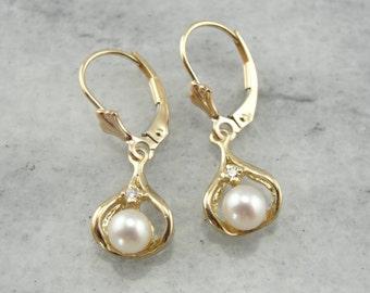Timeless Elegance: Diamond and Pearl Drop Earrings  DTHCWF-P