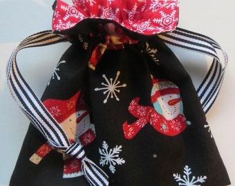 Winter Snowman Snowflake Lined Drawstring Fabric Jewelry Bag