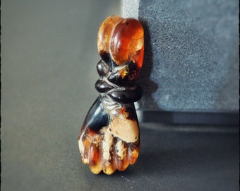 Amber Hand Amulet from Indonesia - Magical Talisman Amulet - Protective Pendant
