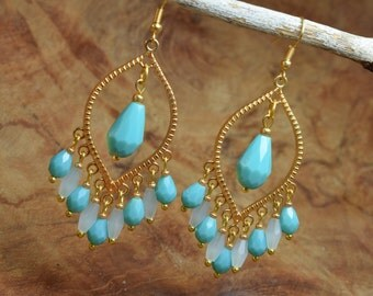 Boho earrings, Chandelier earrings, Turquoise earrings, Gold tone earrings, Long earrings, Dangling earrings, Aqua blue earrings