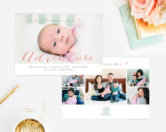Newborn Birth Announcements, Baby Girl Announcements, New Year Announcements, Printed Front & Back with Envelopes, Multi Photo Announcements
