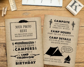 Camping Birthday Party Invitation, Kids Camping Birthday Invite, Boy Outdoor Birthday Party Invitation, ELECTRONIC Print Files Front & Back