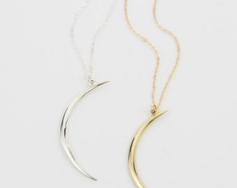Crescent Moon Pendant Necklace / Gold or Silver / Dainty Moon Necklace / Large Moon Pendant on Long or Short Chain / Layered and Long LN515
