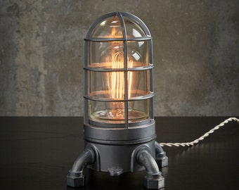 """The """"Vapor Touch 2.0"""" Industrial lamp w/ touch dimmer Very solid Vapor tight Nautical cage lamp, Edison Lamp, steampunk lamp 120v-240v"""
