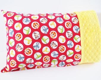Red Toddler Pillowcase - For 12 x 16 or 13 by 18 Inch Pillow - Monkey, Lion, Giraffe - Cotton and Minky Kids Pillowcase - Preschool Pillow