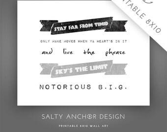 8x10 Word Art - Notorious B.I.G. - Sky's The Limit / Grey - Printable PDF