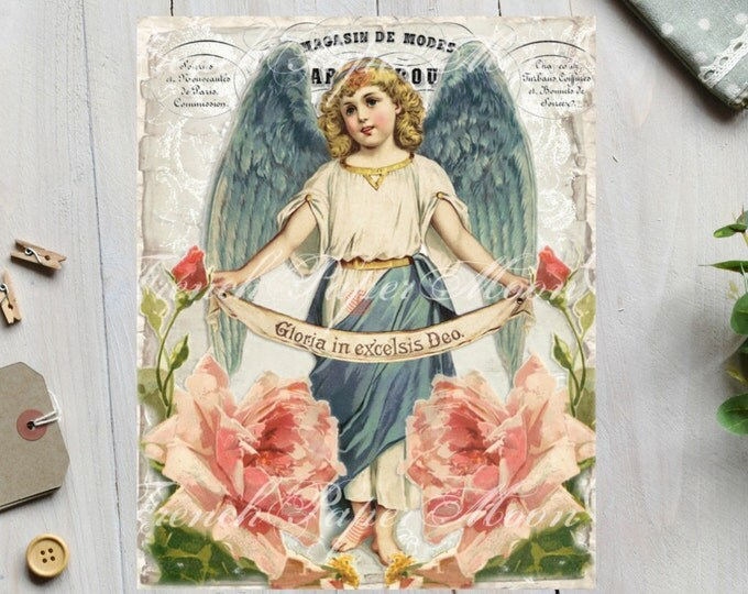 Vintage Shabby French Angel Instant Download, Easter Angel Digital Collage, French Angel Pillow Image, Angel with Roses Printable Sheet