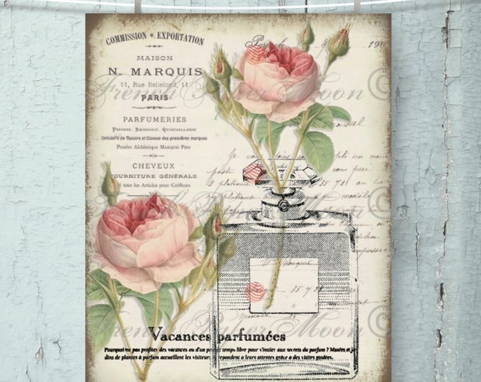 Shabby Vintage French Perfume Download, French Perfume Printable with Shabby Chic Roses, Perfume Bottle, Instant Download, Fabric Transfer