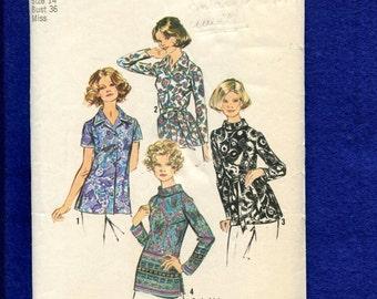 1970's Simplicity 5359 Vintage Ladies Blouses & Shirt Pattern Size 14