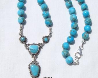 Kingman Turquoise Necklace, Turquoise Necklace, Kingman Turquoise Rounds, Turquoise Cross Pendant, Vintage Barse Pendant, OOAK