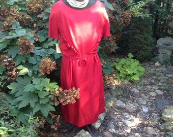 1950s Vintage Red Wiggle Dress by Nelson-Caine New York Original Tag NOS
