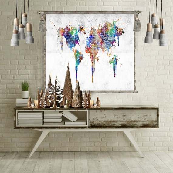 World map tapestry wall hanging world map poster world map like this item gumiabroncs Gallery