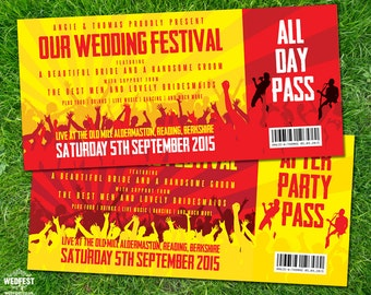 Festival Tickets Wedding Invitations (sample pack) | Concert Ticket Invites | Festival Bride | Music Wedding | Rock N Roll Brides