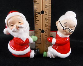 Lefton Santa Mrs. Claus Candle Climbers Vintage MCM Christmas Japan Christmas Decor Candle Holders
