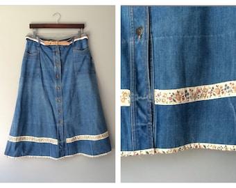 Vintage 1970s Retro Skirt Denim Jean Skirt Stripe Belt & Floral Trim Long Midi Distressed Boho Skirt High Waist Button Size 16 18 XL X-Large