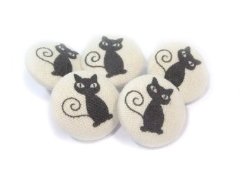 Fabric covered buttons Cats Kitten, bag purse ivory buttons, funny cat buttons, children kids buttons, sewing buttons, sweater buttons