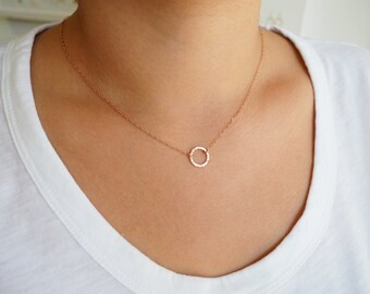 Rose Gold Necklace, Textured Circle Necklace